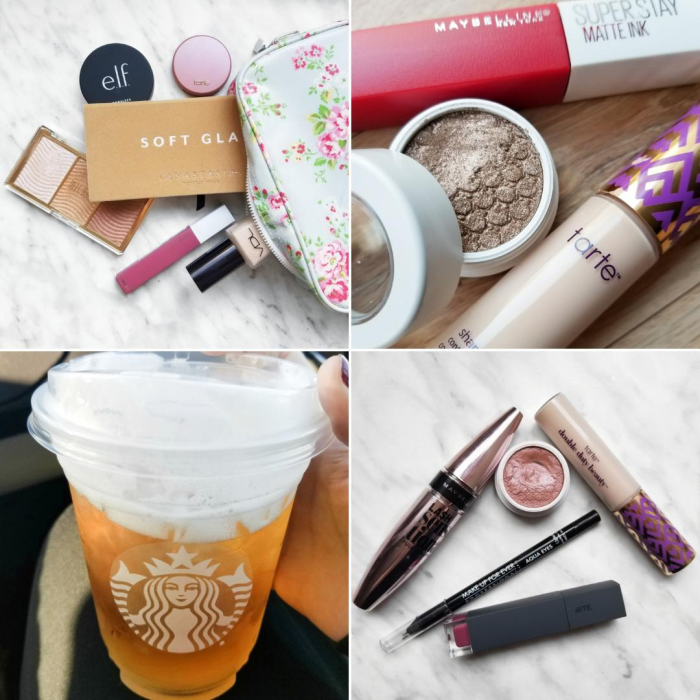 bbloggers, bblogger, bbloggersca, bbloggerca, canadian beauty bloggers, beauty blog, instamonth, instagram, round up, lifestyle, in my makeup bag, milani, stellar lights, soft glam palette, elf putty primer, maybelline, superstay matte ink, colourpop nillionaire, colourpop wattles, monthly favorites, starbucks, white tea, tarte, shape tape, vdl, perfect lasting foundation, bite beauty