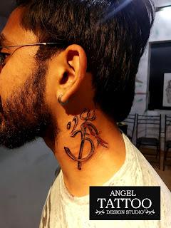 om tattoo on neck, om trishul tattoo