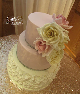 Pink with Silver Sequins and Ruffles Wedding Cake at Devonshire Arms by White Rose Cake Design Cake Maker in Huddersfield West Yorkshire Wedding Cakes