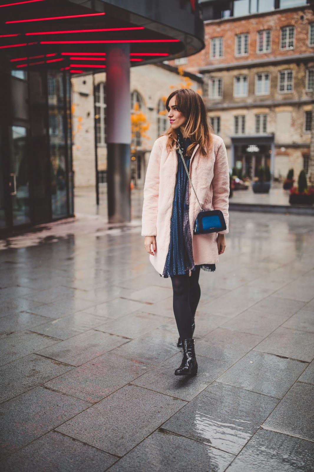 pink furry jacket dress fall outfit