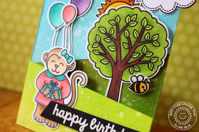 Sunny Studio Stamps: Tri-fold Birthday Card by Eloise Blue (using Comfy Creatures, Sending My Love, Summer Picnic, A Good Egg & Sunny Sentiments).