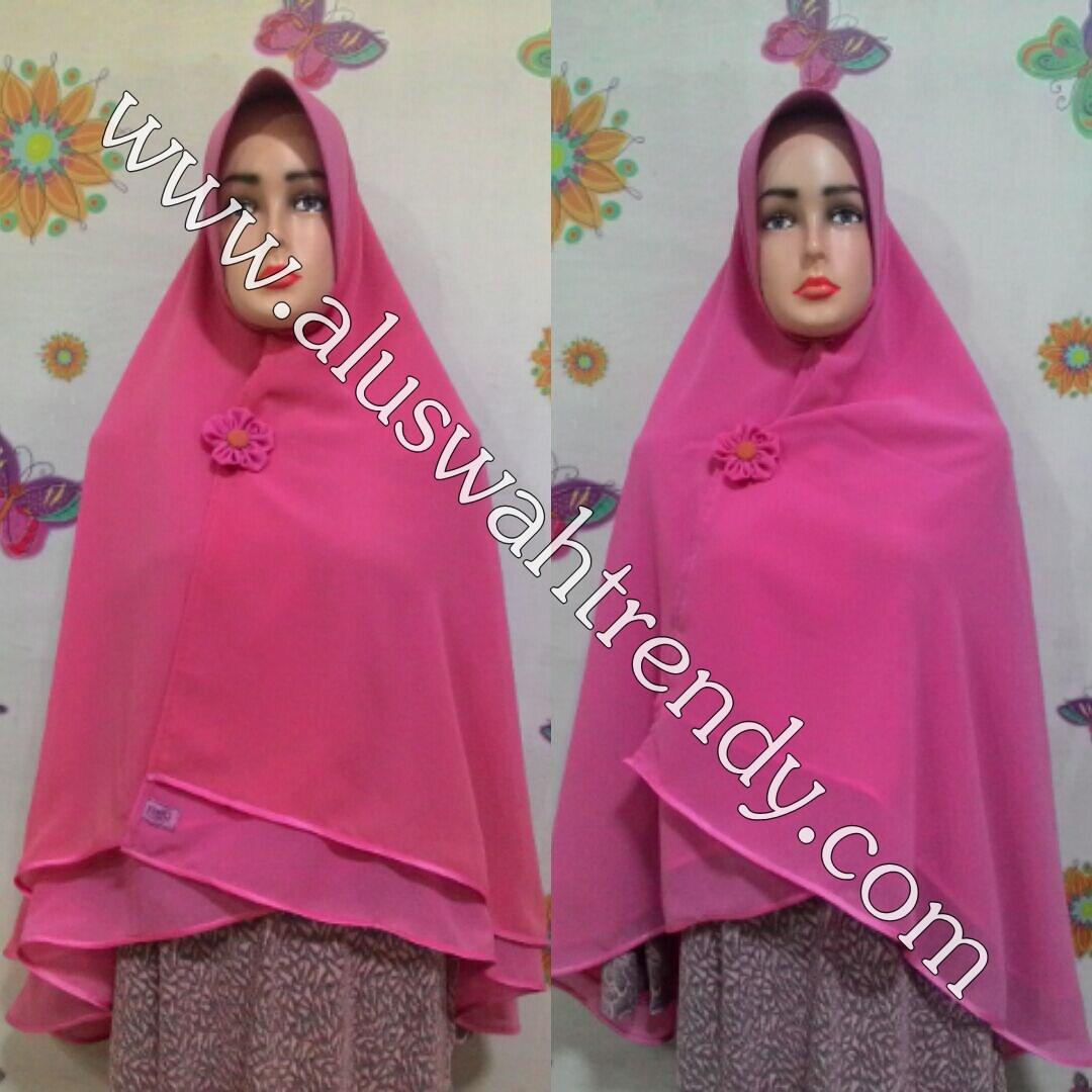 Jilbab Khimar Instan Warna Pink 01