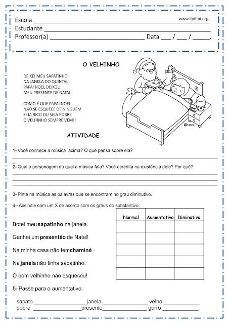Projeto Natal Atividade 4º e 5º ano Graus do Substantivo
