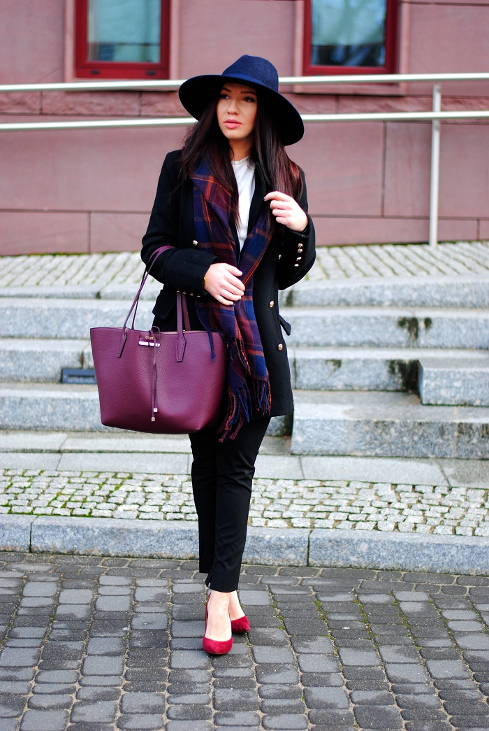 Navy with burgundy