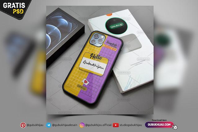 Mockup Glass Case iPhone 12 Pro Max gubukhijau