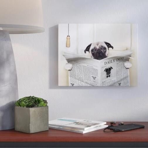 'Pug Reading Newspaper in Bathroom' Graphic Art Print