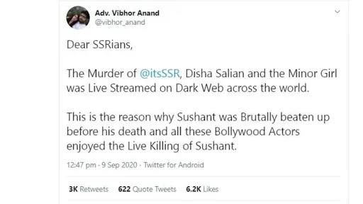 Sushant Singh Rajputs Murder was telecast live via dark web claims a lawyer Vibhor Anand
