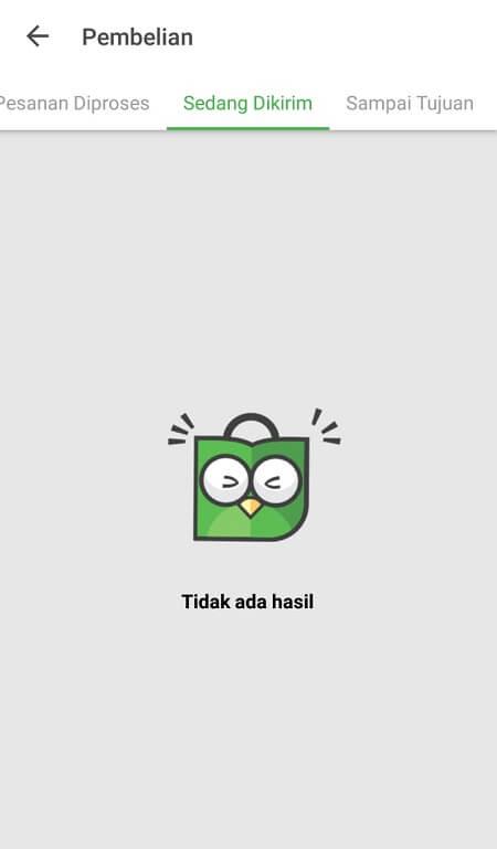 Halaman Riwayat Pembelian Tokopedia