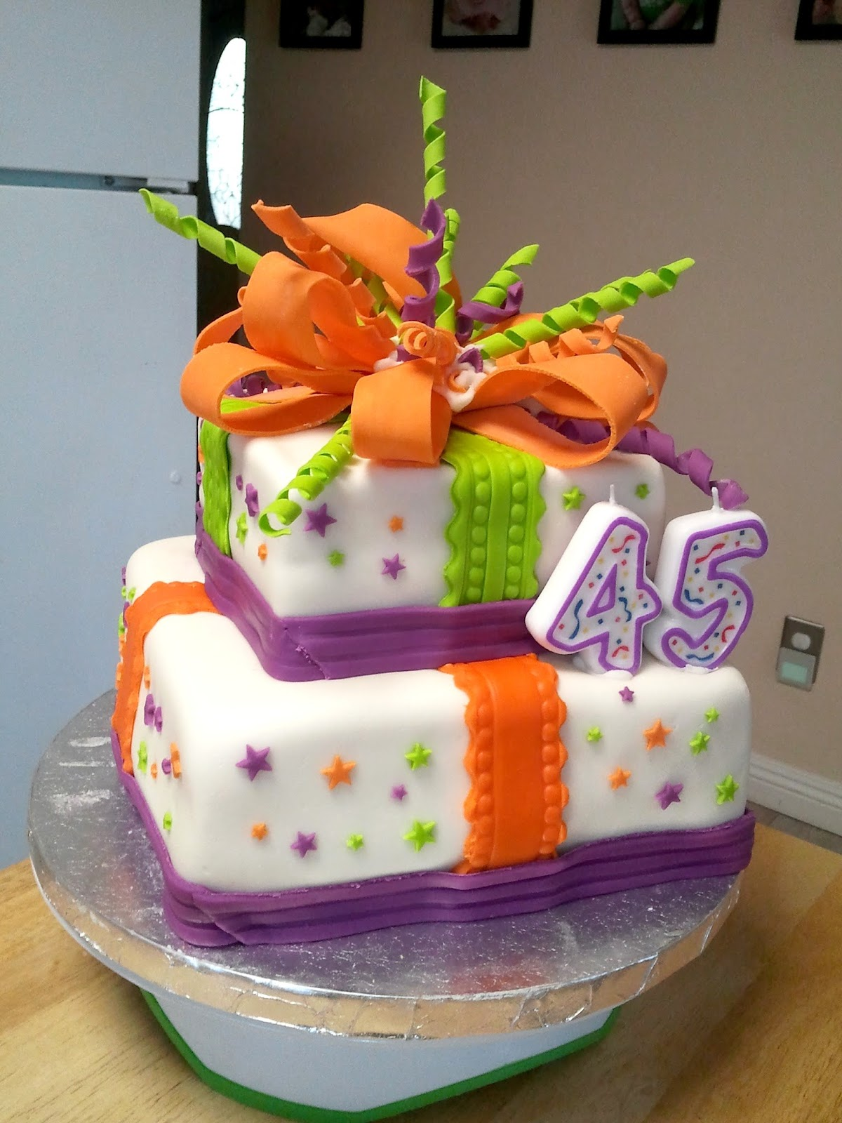 Tiered Fondant Birthday Present Cake