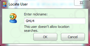 Locate User This user doesnt allow location searches