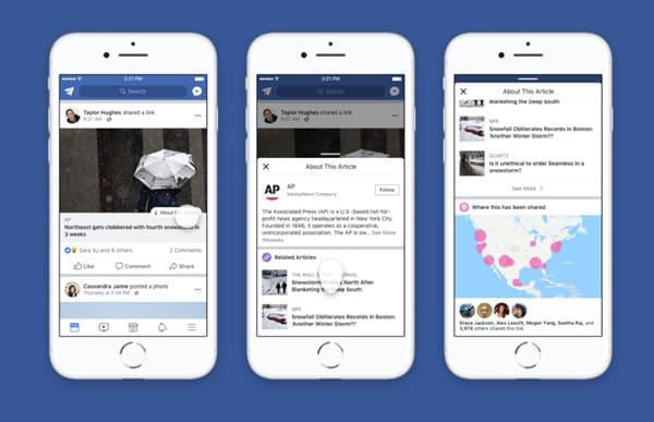 Novo botão de contexto do Facebook
