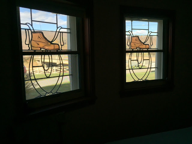 Stained glass windows in the Haines Shoe House