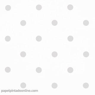 Papel Pintado Topos 042 - Fondo Blanco con el Topo Gris