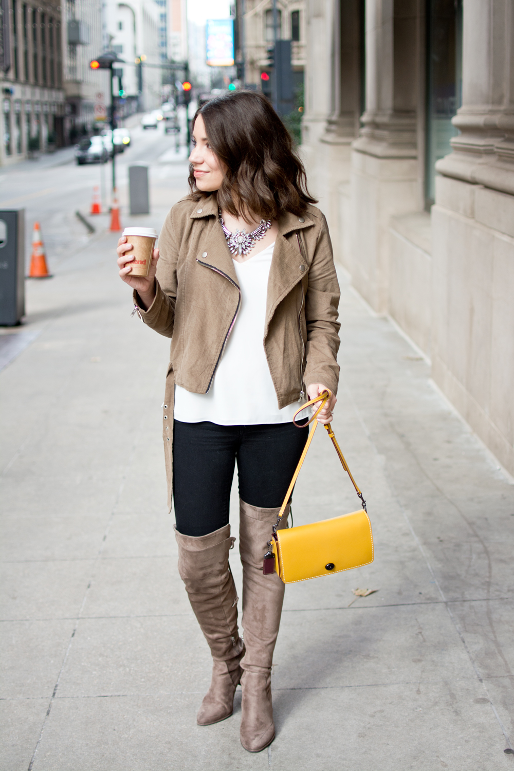 winter outfit idea, blogger, outfit post, moto jacket, how to wear otk boots, over the knee boots, how to style over the knee boots, winter outfit, winter style, fashion, ootd