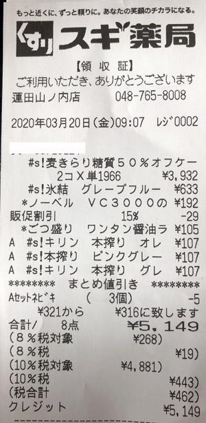 スギ薬局 蓮田山ノ内店 2020/3/20 のレシート