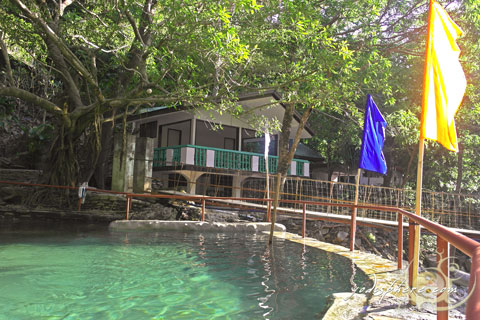 View of the main cottage and old swimming pool and hanging bridge in Calawagan