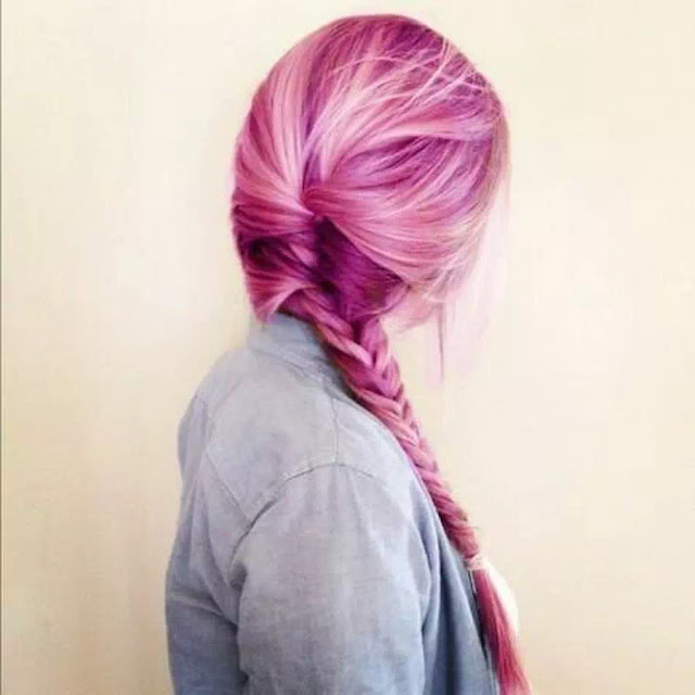 pink and plum ombre hairstyle