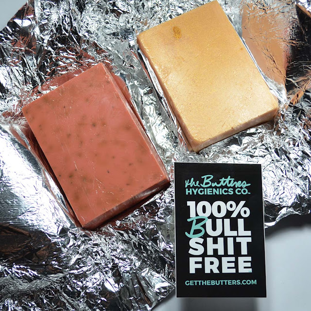soap bars on top of foil wrapping with the butters hygienics sticker