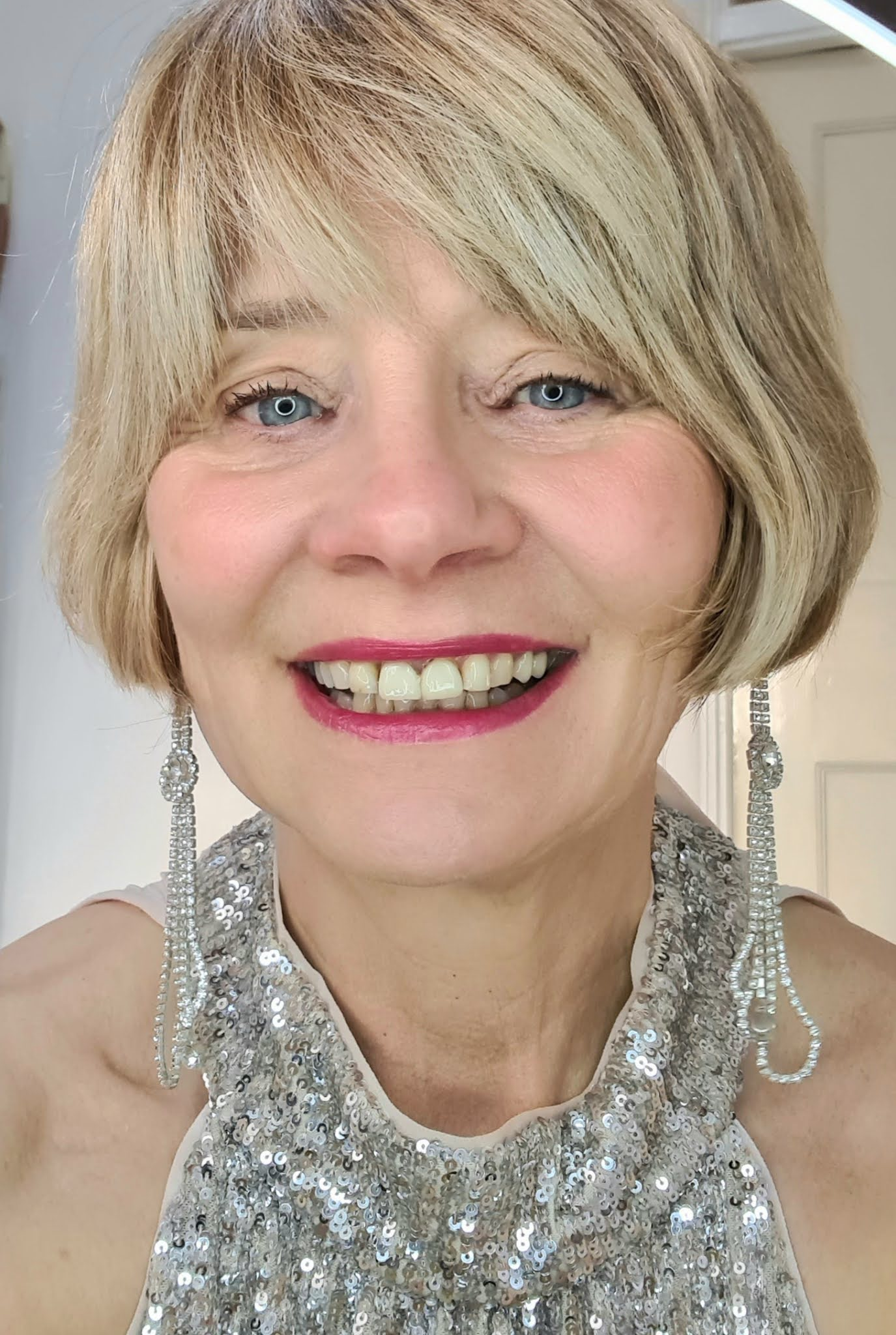 Over 60s blogger Gail Hanlon from Is This Mutton in silver sequinned top