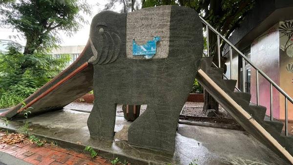 大西國小大象溜滑梯彩繪 大葉設藝改造《大象艾瑪》瞭望台