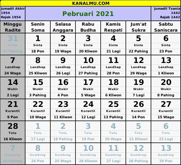 Kalender Februari 2021 Lengkap Dengan Tanggal Merah