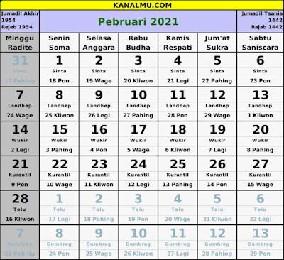 kalender februari 2021 lengkap jawa hijriyah