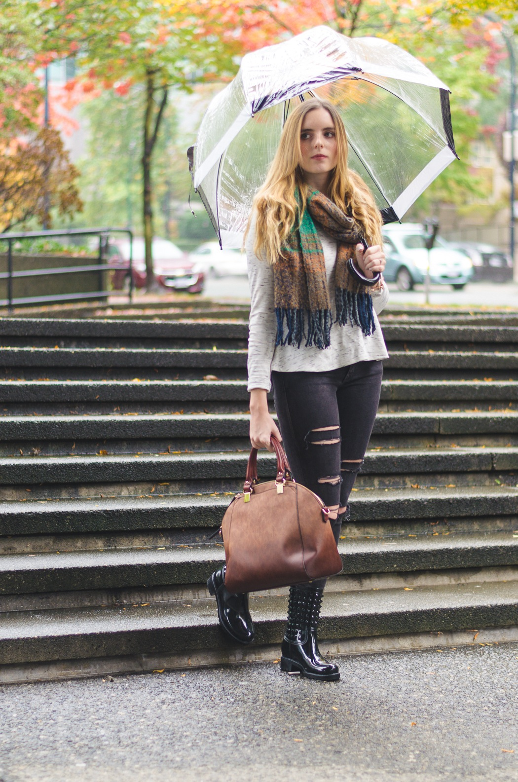 the urban umbrella style blog, vancouver style blog, vancouver style blogger, vancouver fashion blog, vancouver lifestyle blog, vancouver health blog, vancouver fitness blog, vancouver travel blog, canadian fashion blog, canadian style blog, canadian lifestyle blog, canadian health blog, canadian fitness blog, canadian travel blog, bree aylwin, how to look stylish in the rain, tips to dressing stylishly on a rainy day, american eagle distressed jeans, dynamite clothing peplum top, pinkstix blanket scarf, pinkstix handbag, best affordable handbag, gilded arrow boutique necklace, best fitness blogs, best health blogs, best travel blogs, top fashion blogs, top style blogs, top lifestyle blogs, top fitness blogs, top health blogs, top travel blogs
