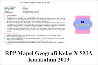 rpp mata pelajaran geografi untuk kelas x jenjang sma kurikulum 2013