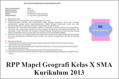 RPP Mapel Geografi Kelas X SMA Kurikulum 2013