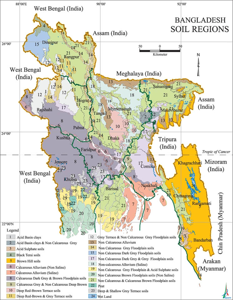 Soil Regions Map Bangladesh