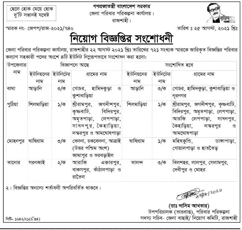 রাজবাড়ি জেলা পরিবার পরিকল্পনা নিয়োগ বিজ্ঞপ্তি ২০২১ - Rajbari District  poribar porikolpona job circular 2021 - স্বাস্থ্য ও পরিবার পরিকল্পনা অধিদপ্তরে নিয়োগ বিজ্ঞপ্তি ২০২১