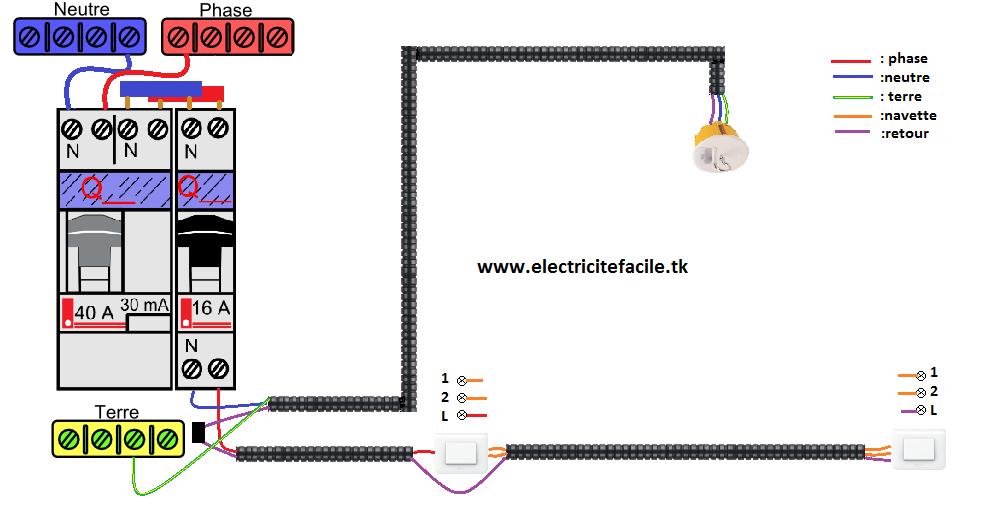 sch ma lectrique va et vient simple schema electrique. Black Bedroom Furniture Sets. Home Design Ideas