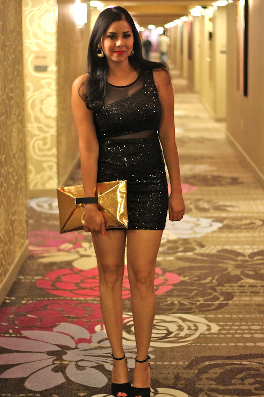 little black sequins dress in Vegas