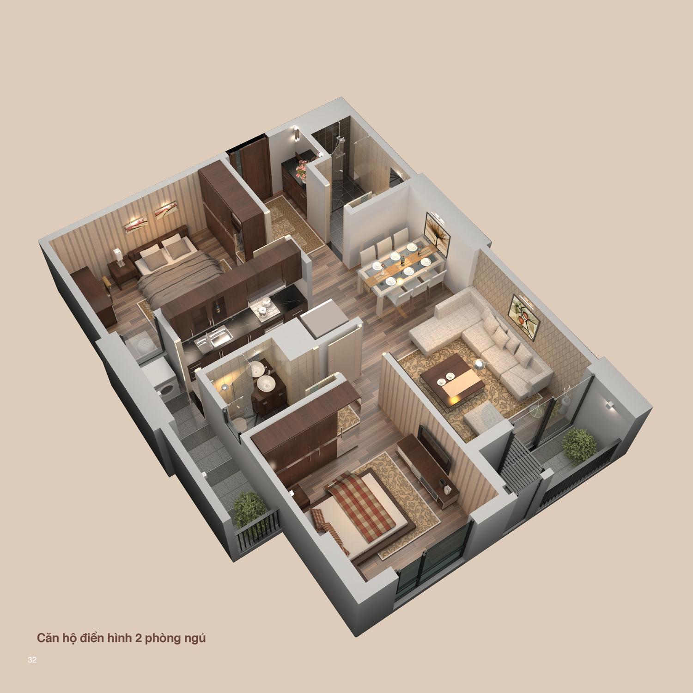 Phối cảnh 3D – Căn 2 phòng ngủ