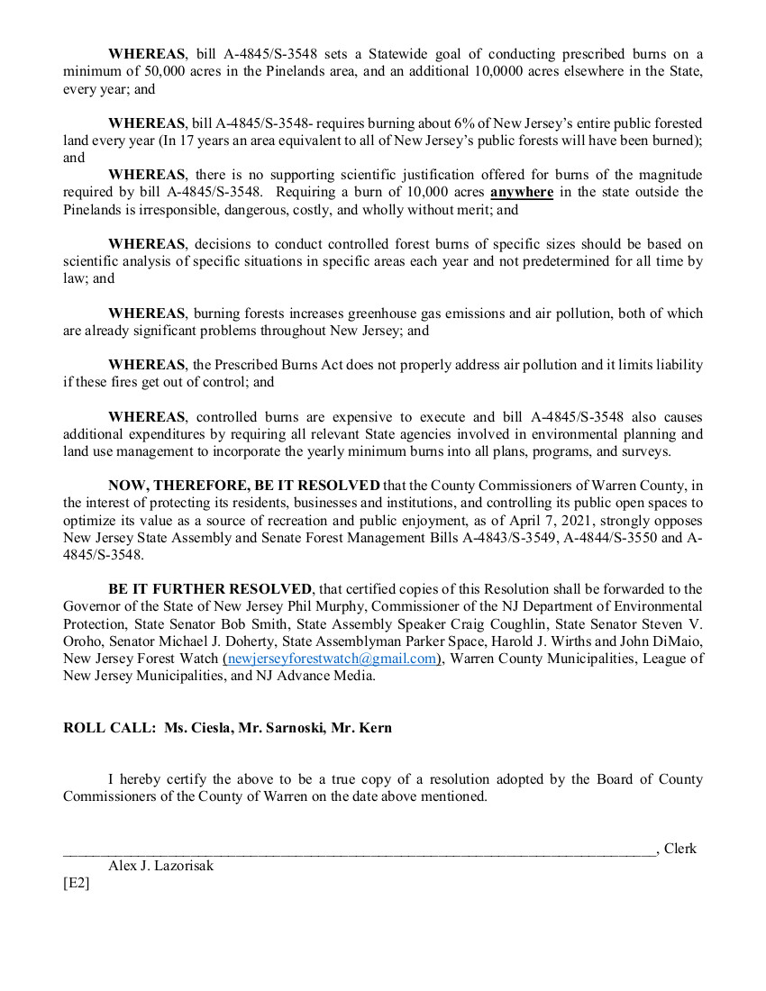 2021 Warren County NJ Resolution opposing Forest Management Plans Page 3