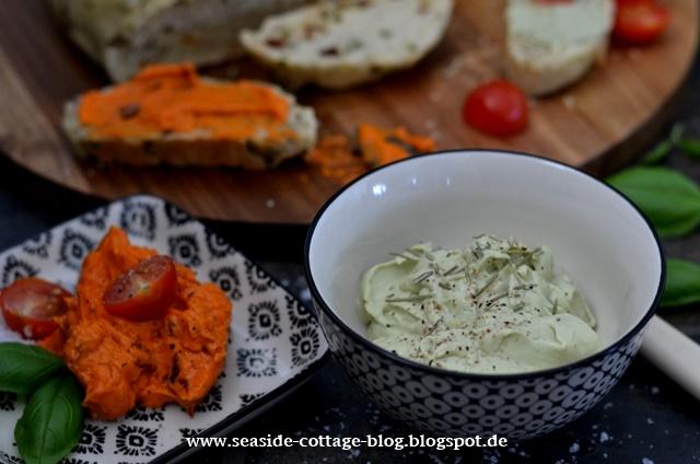 Rezepte Foccacia, Tomatenbutter, Avocado-Ziegenkäsecreme