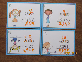 4 Digit Subtraction Regrouping Task Cards