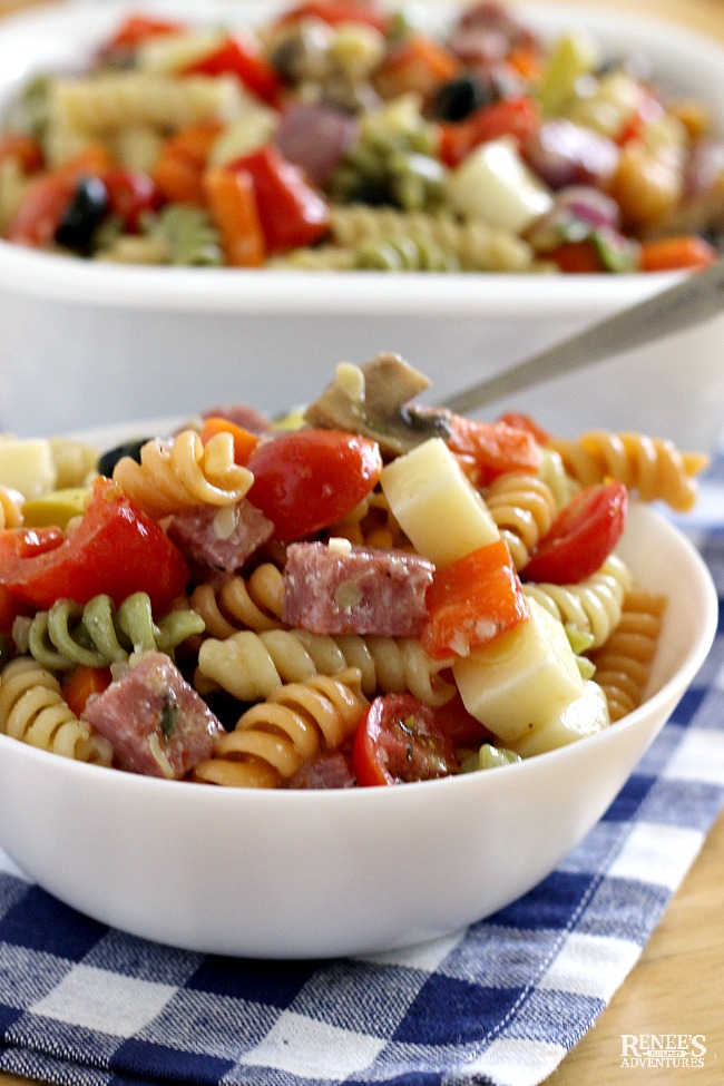 Roasted Vegetable Pasta Salad by Renee's Kitchen Adventures in small white bowl