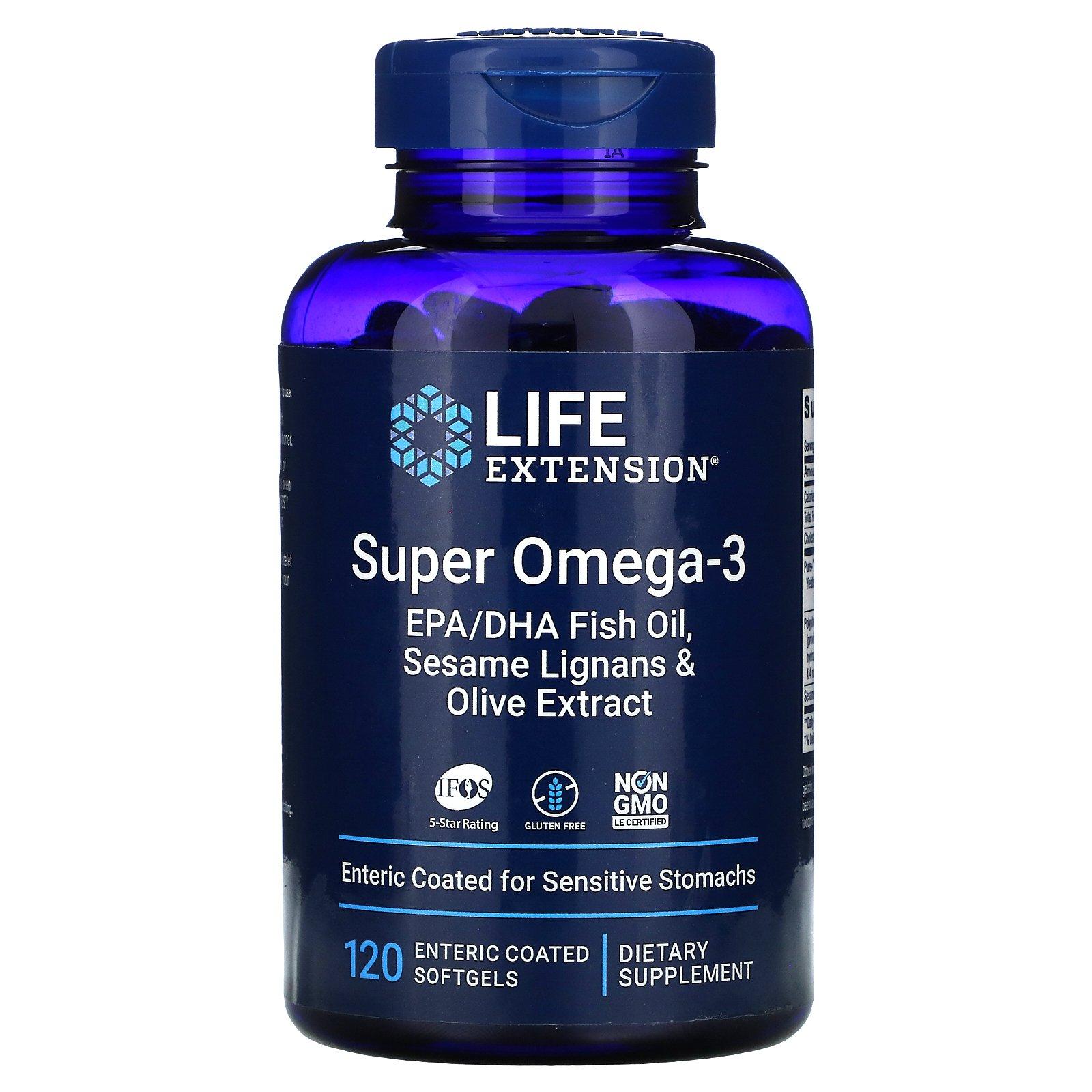 Life Extension, супер омега-3, 120 мягких таблеток, покрытых кишечнорастворимой оболочкой