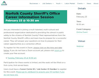 Norfolk County Sheriff's Office Career Information Session - Feb 23