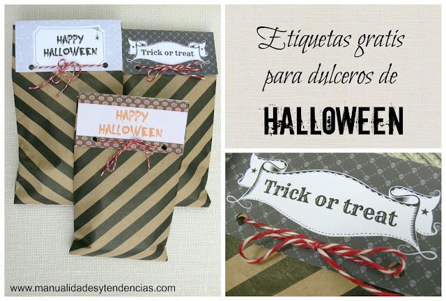 Etiquetas gratis para dulceros de Halloween