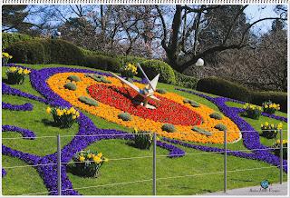Beautiful Park in Geneva, Switzerland on a sunny winter day