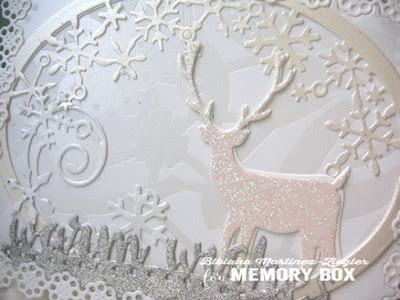white christmas card detail deer