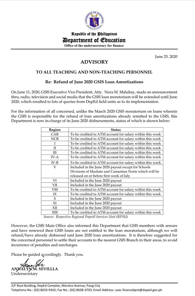 Update on Refund of March and June 2020 GSIS Loan Amortizations