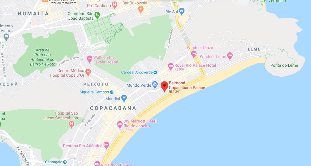 Belmond Copacabana Palace Map Rio de Janeiro