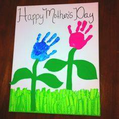 Idea to draw flowers using handprint for kids 5