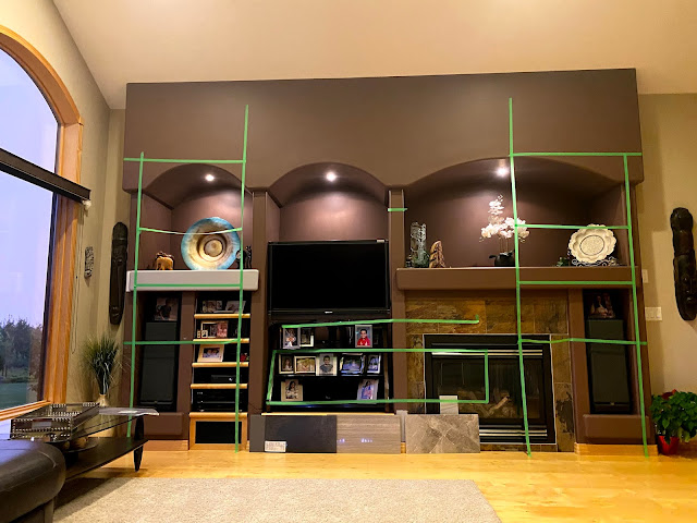 Modern Built In Wall Unit, Silhouette Studio Designer Edition, Renovation Plans, Silhouette Cameo, Samsung Frame TV, DIY, Interior Design, Focalize Contracting, Cloverdale Paint, Chantilly Lace, Faux Shiplap, Napoleon  Allure Wall Mount Electric Fireplace