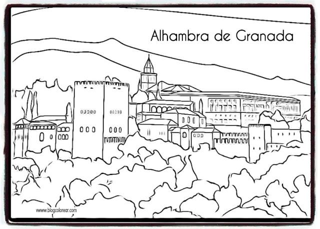 dibujos de la Alhambra para colorear