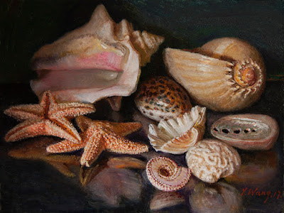 seashells painting original still life painting a day contemporary realism