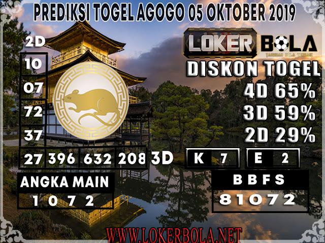 PREDIKSI TOGEL AGOGO LOKERBOLA 05 OKTOBER 2019